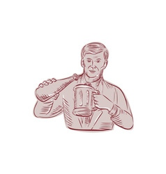 Man Pouring Beer Mug Etching vector image