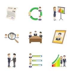 Manager icons set cartoon style vector