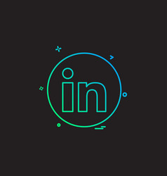 Media network social linkedin icon design vector