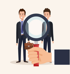 Men characters with magnifying glass vector