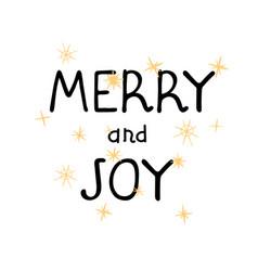 merry and joy - fun hand drawn grating card vector image