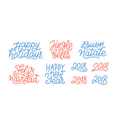 Merry christmas and happy new year line art text vector