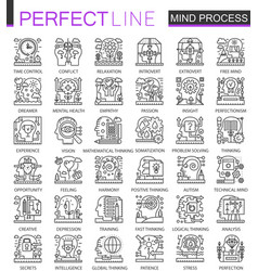 Mind brain process outline mini concept symbols vector