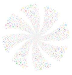 Monitor fireworks swirl flower vector