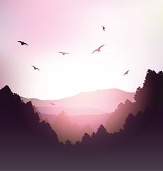 Mountains and trees landscape vector image