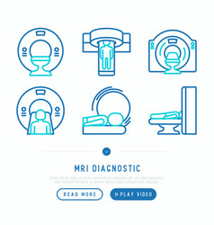 Mri diagnostics thin line icons set vector