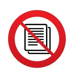 No Copy file sign icon Duplicate document symbol vector