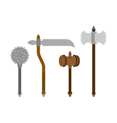 old medieval weapon set mace weapon morgenstern vector image