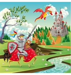 Panorama with medieval castle dragon and knight vector