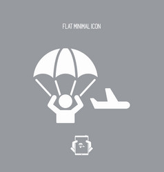 Parachutist jumping from the airplane - minimal vector