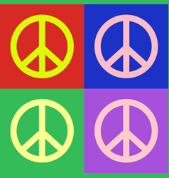 peace symbol pop art colorful design vector image