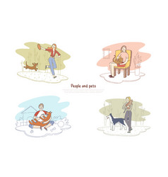 People and pets man walking with dog woman vector