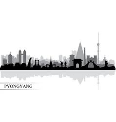 Pyongyang city skyline silhouette background vector