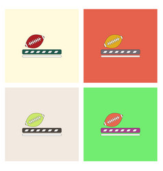 ragby ball icon set vector image