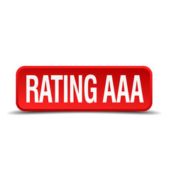 Rating aaa red 3d square button isolated on white vector