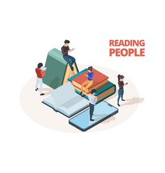 reading people study persons with books vector image