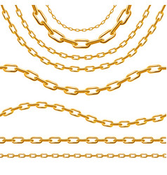 realistic 3d detailed golden chain set vector image