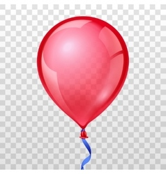 Realistic red balloon on transparent checkered vector