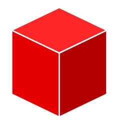 Red isometric cube flat icon vector