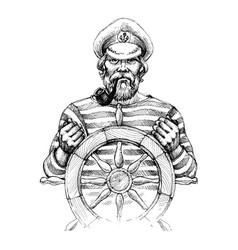Sailor at helm drawing vector