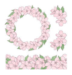 Sakura set floral decoration clip art illus vector