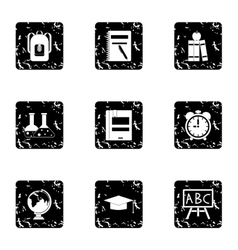 Schoolhouse icons set grunge style vector
