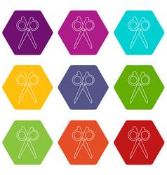 scissors icons set 9 vector image