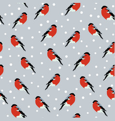 Seamless background with bullfinches vector