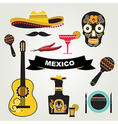 set mexican icons vector image