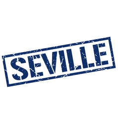 Seville blue square stamp vector