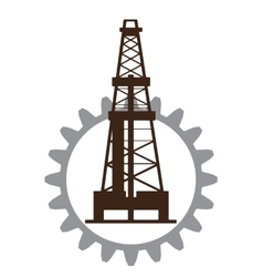 Silhouette of oil drilling in gear vector