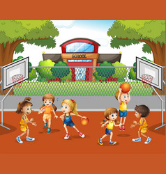 student playing basketball at school vector image