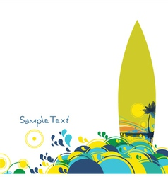 summer background with surfboard vector image