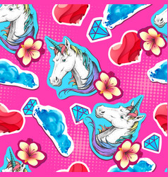 summer seamless bright pattern with unicorn vector image