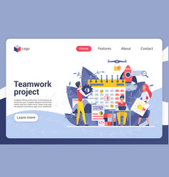 Teamwork project landing page template vector