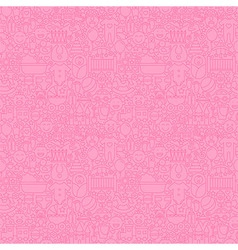 Thin Line Pink Baby Girl Seamless Pattern vector