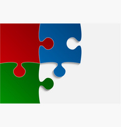 three rgb piece puzzle jigsaw vector image