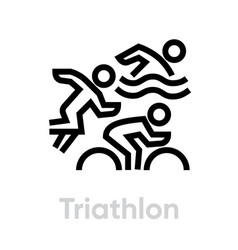 triathlon sport icons vector image