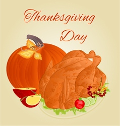 Turkey thanksgiving day celebratory food vector