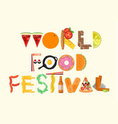 typography food poster world food festival vector image