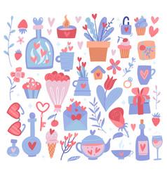valentine s day big icon set romantic design vector image