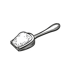 Wooden scoop with flour vector