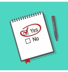 Yes no checked with red marker line on notebook vector