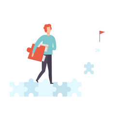 Young man walking along road from puzzles to goal vector