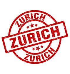 Zurich red round grunge stamp vector