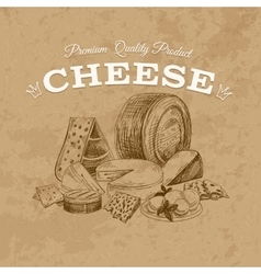 Cheese hand drawn vector image