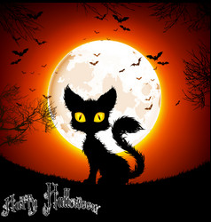 halloween background a cat vector image vector image