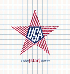 hand draw star with american flag colors Abstract vector image vector image