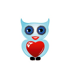 Pretty owl with a red heart vector image