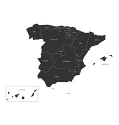 spanish map devided to 17 administrative vector image vector image